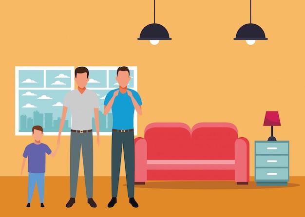 Männer mit kinderavatara-zeichentrickfilm-figur