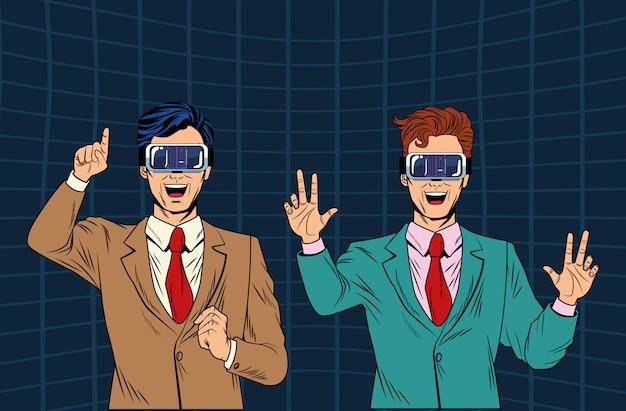 Männer mit kopfhörer der virtuellen realität
