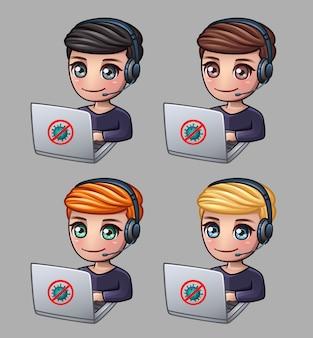 Männer mit kopfhörern und laptop arbeiten zu hause