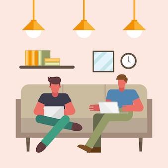 Männer mit laptop arbeiten auf couch vom hauptentwurf des telearbeitsthemas vektorillustration