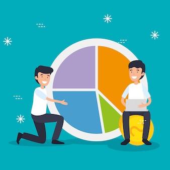 Männer mit laptoptechnologie und statistikdiagramm