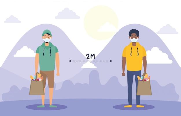 Männer mit lebensmitteleinkaufstasche und sozialer distanzierung für covid19