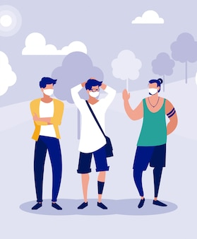 Männer mit masken außerhalb am parkvektordesign