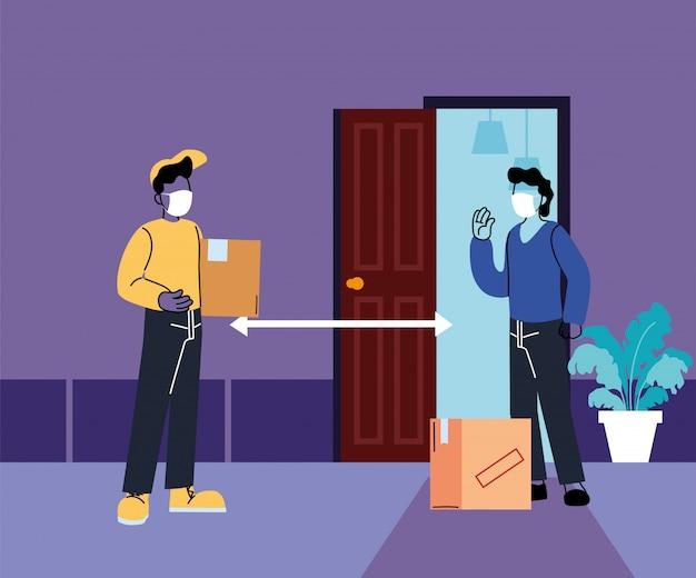 Männer mit masken, die ein sicheres paket liefern und empfangen