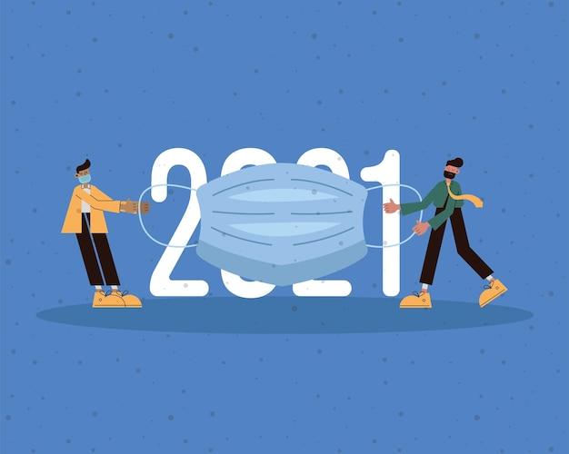 Männer mit medizinischen masken mit der nummer 2021