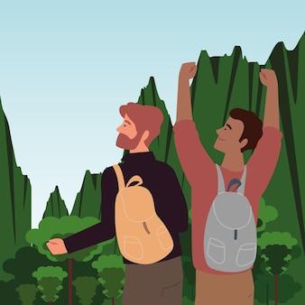 Männer mit rucksack abenteuerlandschaft