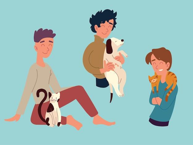 Männer mit seinen haustieren, katzenhund