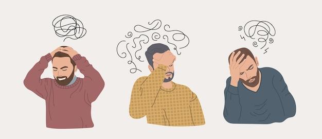 Männer mit stress und depressionen. frustrierte menschen. geisteskrankheit.