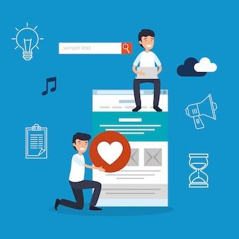 Männer mit suchleiste und website-informationen