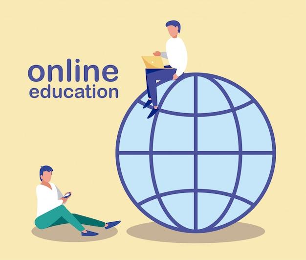 Männer mit technologie-gadgets, suchinformationen im internet, online-bildung