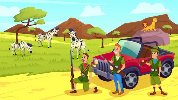Männer mit waffen kamen auf safari