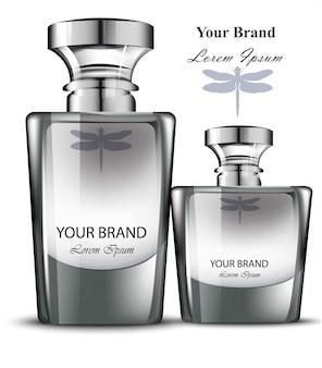 Männer parfümflasche gesetzt. realistische produktverpackungsdesigns