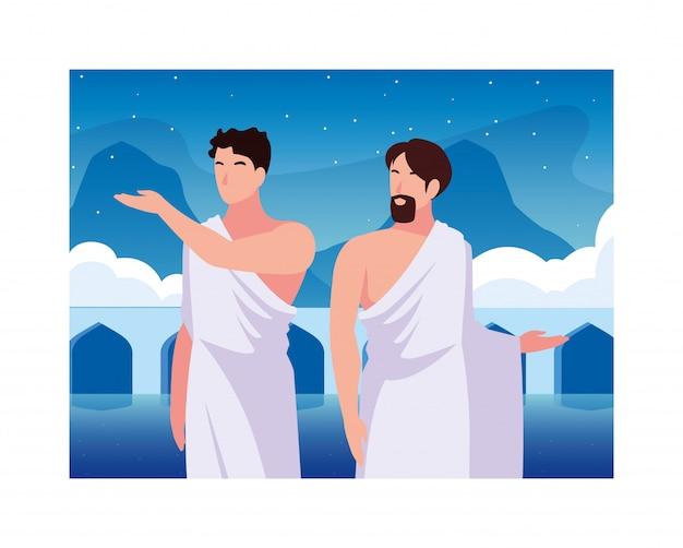 Männer pilger hadsch, tag des dhul hijjah