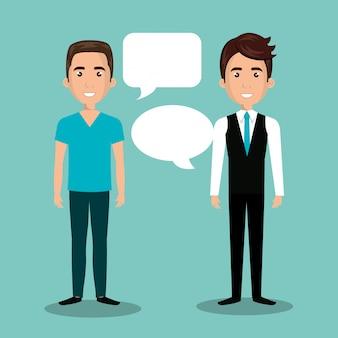 Männer reden dialog isoliert