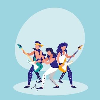 Männer singen und spielen e-gitarre
