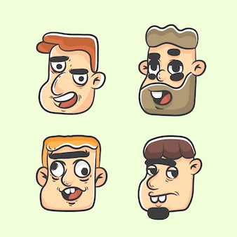 Männer skurrilen profil avatar gesetzt