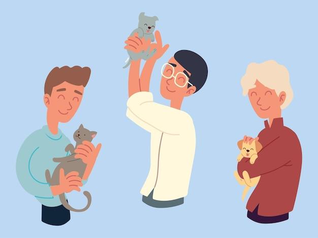 Männer spielen mit katzen haustierset