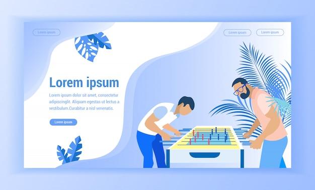 Männer spielen tischfußball auf blau-hintergrund-vektor