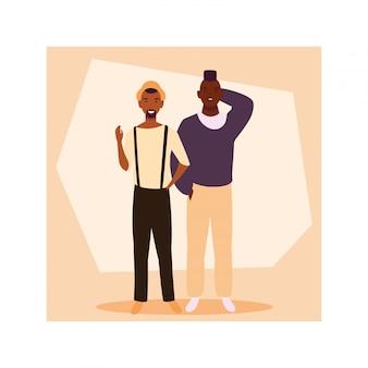 Männer stehen mit verschiedenen posen