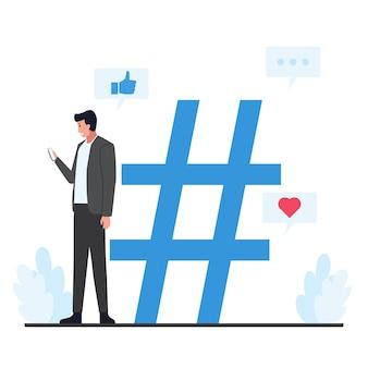 Männer stehen und halten telefone neben einem großen hashtag.