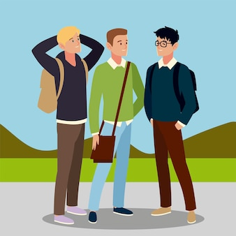 Männer studenten charakter mit taschen in der außenillustration