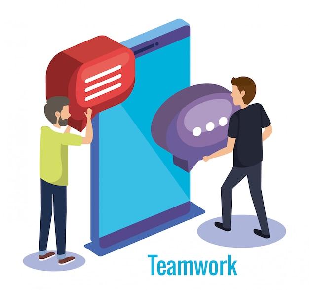 Männer teamarbeit mit smartphone