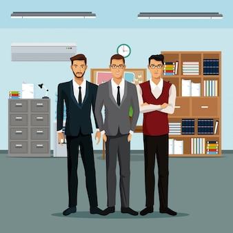 Männer teamwork platz möbel bücher schrank datei uhr