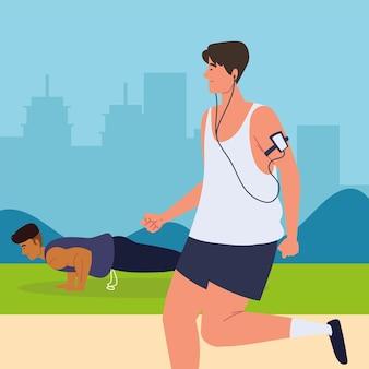 Männer trainieren im park