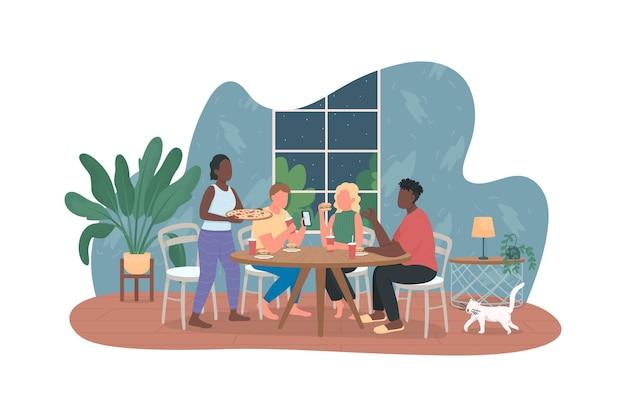 Männer und frauen am tisch mit den flachen zeichen des essens auf karikaturhintergrund.