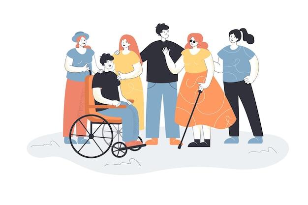 Männer und frauen begrüßen menschen mit behinderungen. gruppe von menschen, die blinde weibliche charaktere und männer im rollstuhl treffen.