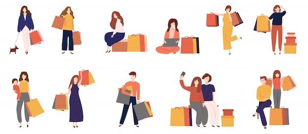 Männer und frauen beim einkauf mit tasche