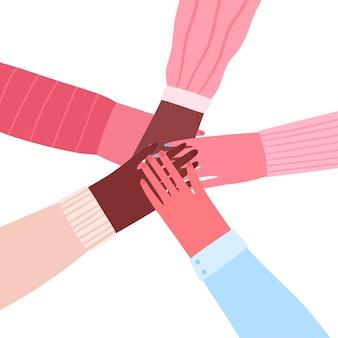 Männer und frauen, die ihre hände zusammenstellen, flache illustration