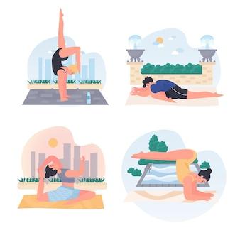 Männer und frauen, die yoga-konzeptszenen machen, setzen vektorillustration von charakteren
