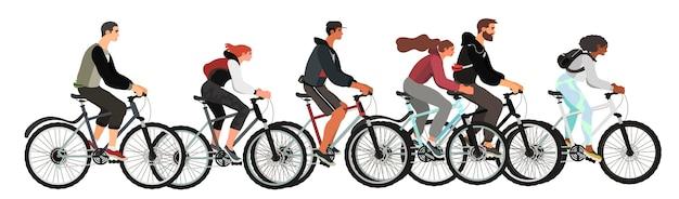 Männer und frauen fahren fahrrad