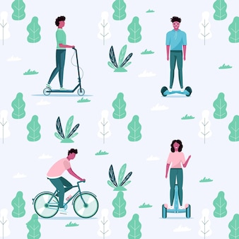 Männer und frauen fahren im öffentlichen park öko-stadttransport. persönlicher elektrotransport, grüner elektroroller, hoverboard, gyroscooter, einrad und fahrrad. ökologisches fahrzeug, stadtlebenskonzept