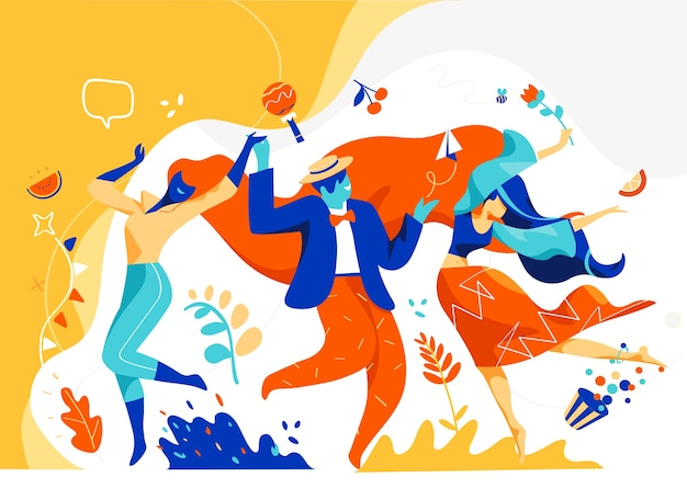 Männer und frauen feiern und tanzen zusammen