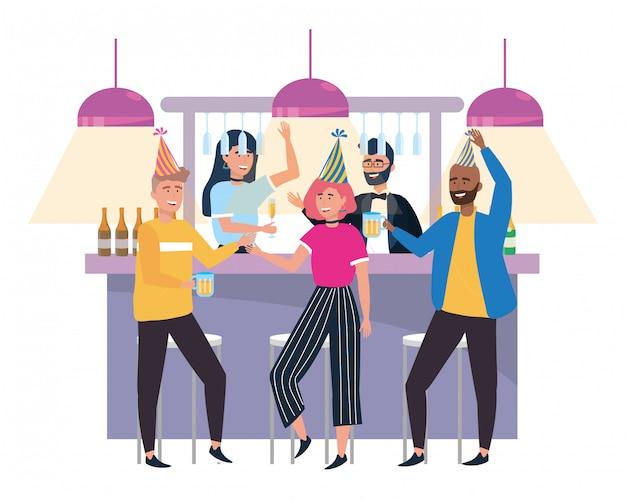 Männer und frauen feiern