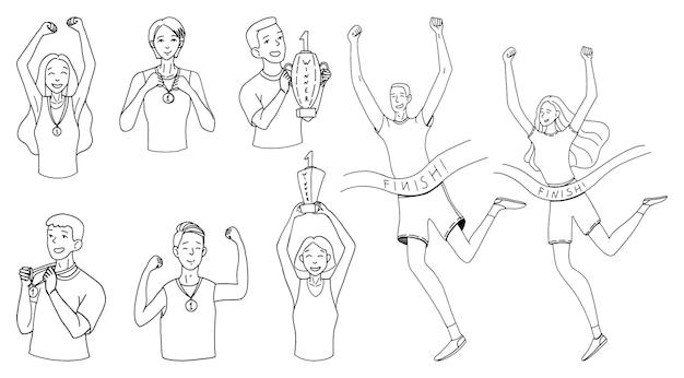 Männer und frauen gewinnen, ins ziel laufen, pokale und medaillen halten. gewinner menschen konzept. satz von hand gezeichneten vektorillustrationen. kontur-doodle-zeichnungen im einfachen stil isoliert auf weiss.