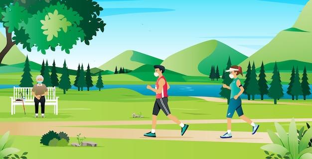 Männer und frauen joggen mit einer schutzmaske.