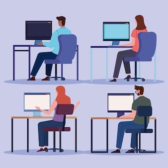 Männer und frauen mit computer eingestellt