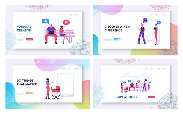 Männer und frauen mit gadgets website landing page set