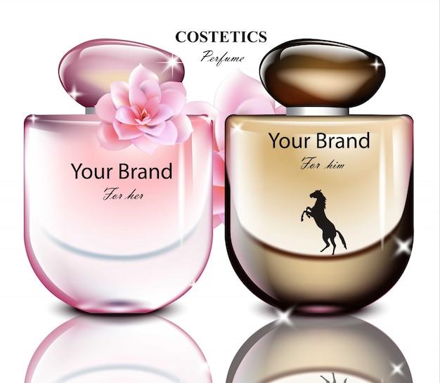 Männer und frauen parfümflasche gesetzt. realistische produktverpackungsdesigns