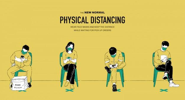 Männer und frauen sitzen auf stühlen und warten auf essensbestellungen und verbringen zeit auf ihren telefonen. soziales distanzierungskonzept. neue normale lebensstilillustration.