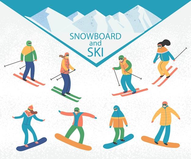 Männer und frauen skifahren und snowboarden. wintersportaktivitäten. flacher stil der vektorkarikatur.