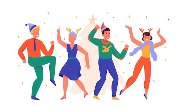 Männer und frauen tanzen an der flachen illustration der weihnachtsfeier