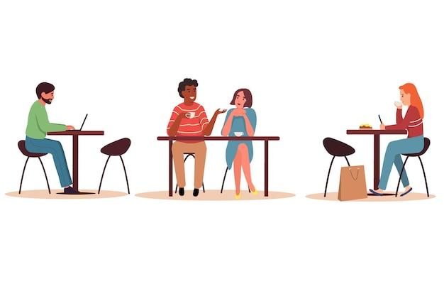 Männer und frauen trinken kaffee oder tee, unterhalten sich, arbeiten am laptop und am telefon. flache vektorillustration auf einem weißen lokalisierten hintergrund.