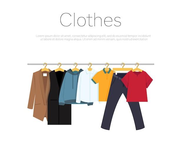Männer- und frauenkleider auf kleiderbügeln