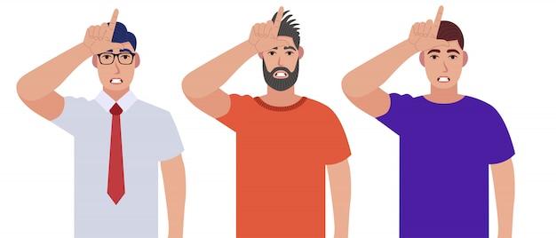 Männer zeigen verliererzeichen auf der stirn mit den fingern. menschen mit gestikulierender hand über kopf. männchen, das 'l'-symbol macht. zeichensatz.