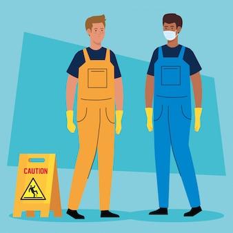 Männerarbeiter des reinigungsdienstes, auf blauem illustrationsentwurf Premium Vektoren