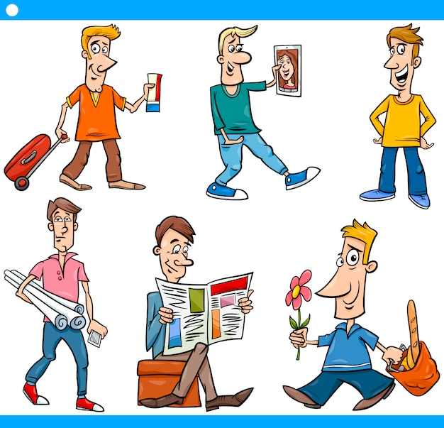 Männercharaktere stellten karikaturillustration ein